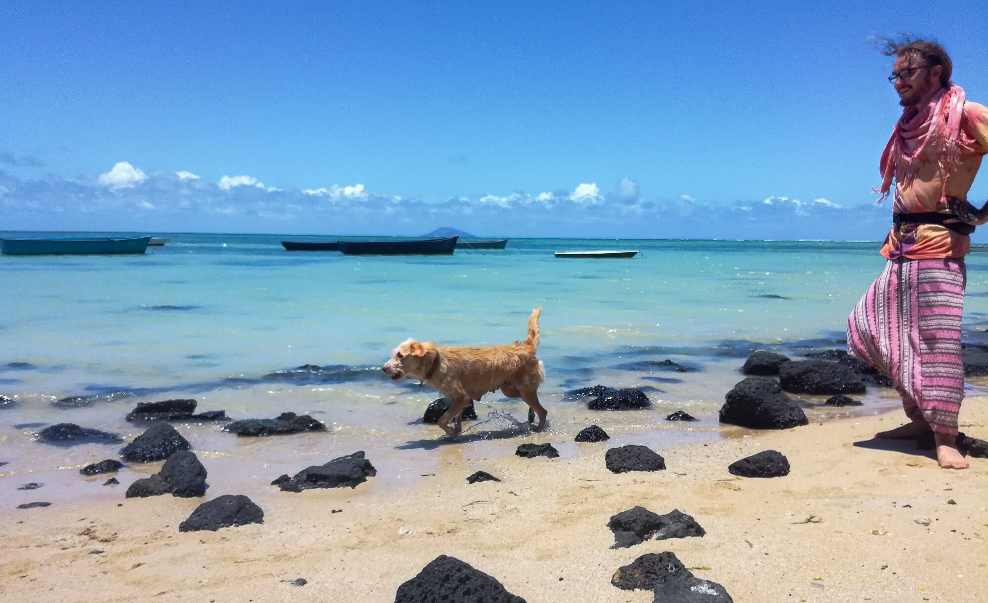 A backpacker visiting Mauritius walking with a dog on a public beach