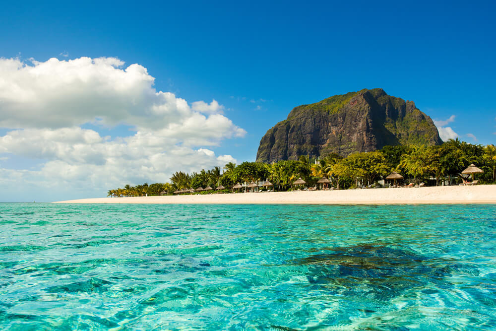Le Morne Beach with Le Morne Brabant mountain behind