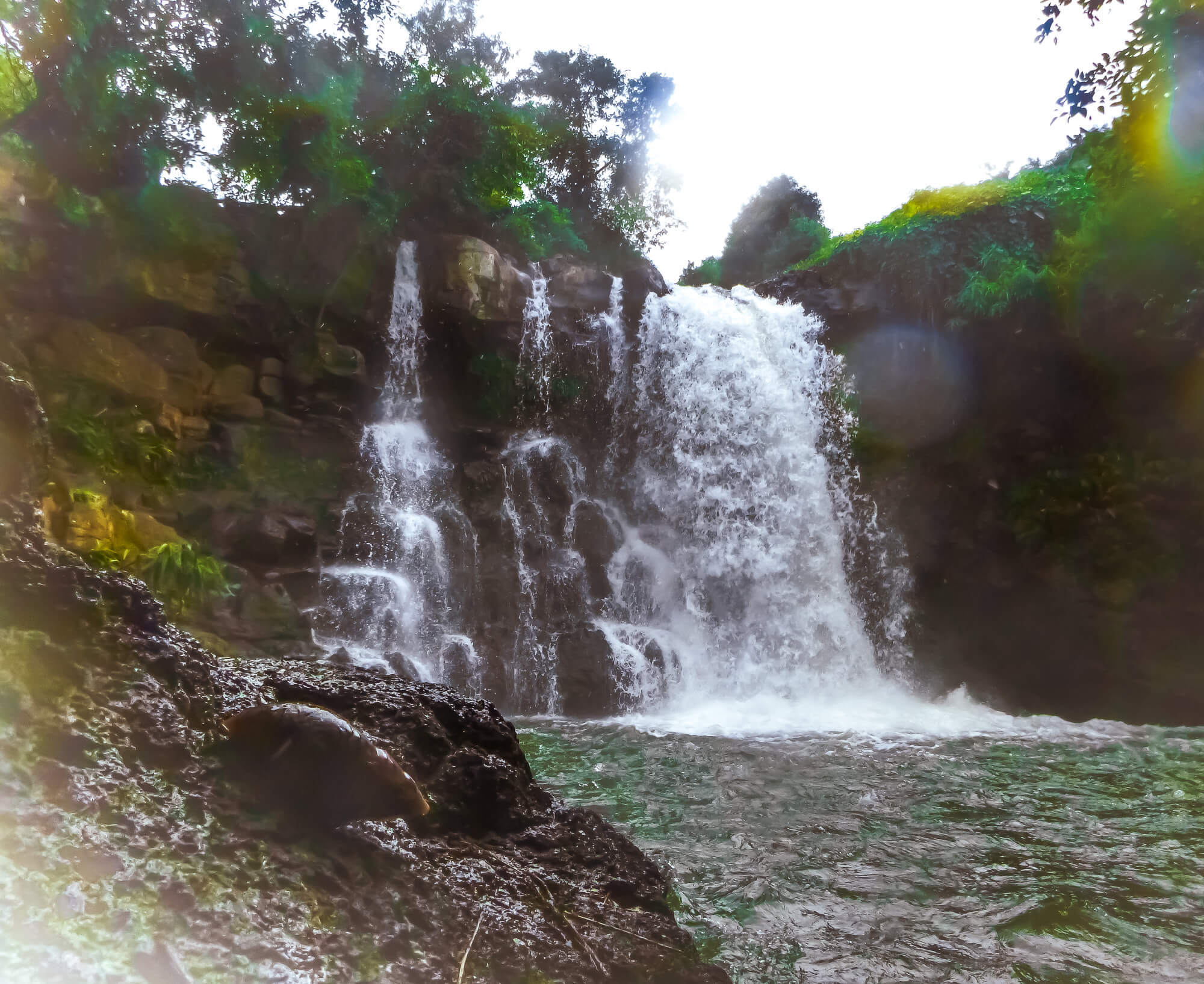Finding a secret waterfall - a fun thing to do in Mauritius