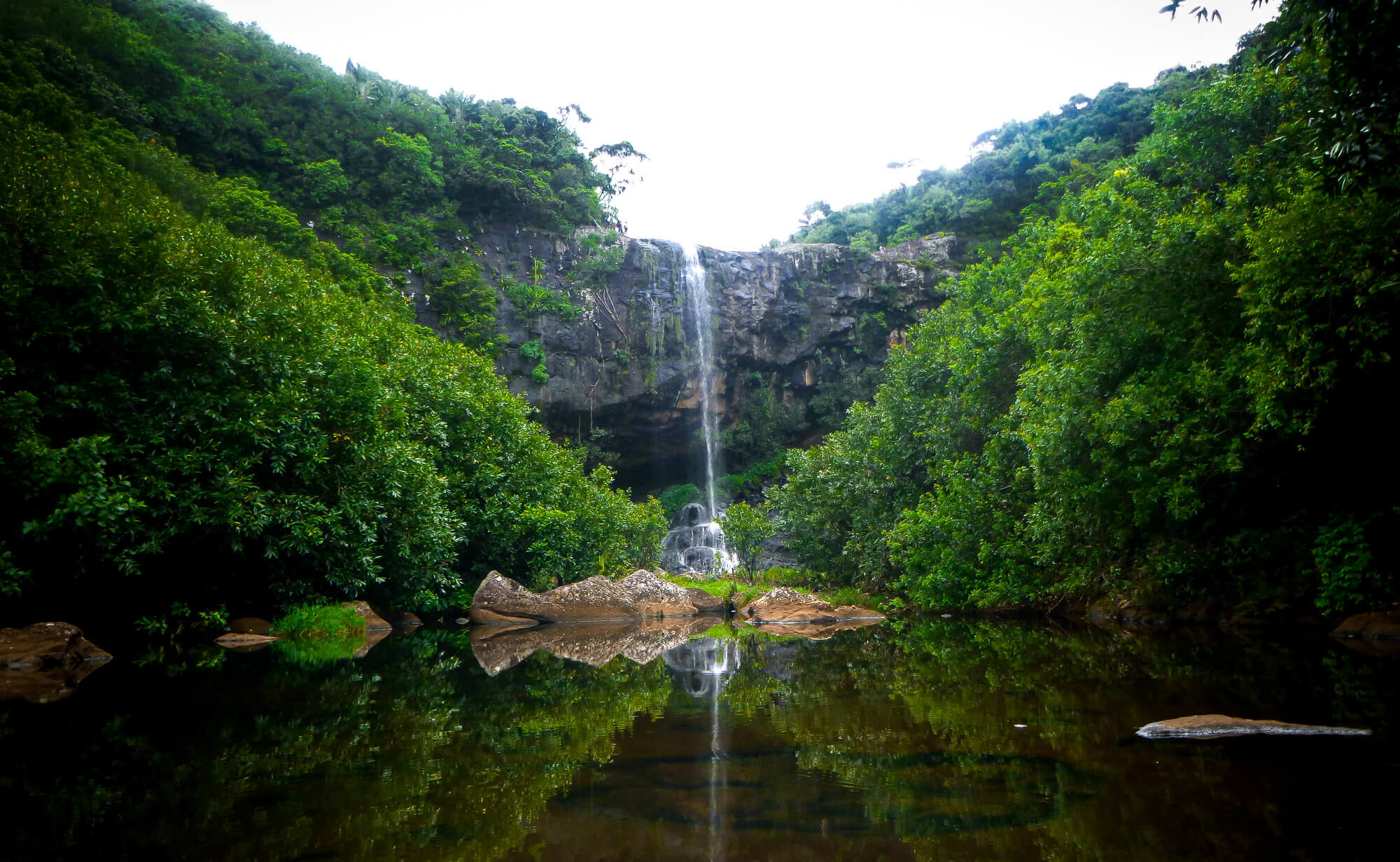 Hiking Tamarind Falls (Sept Cascade) waterfall in Mauritius