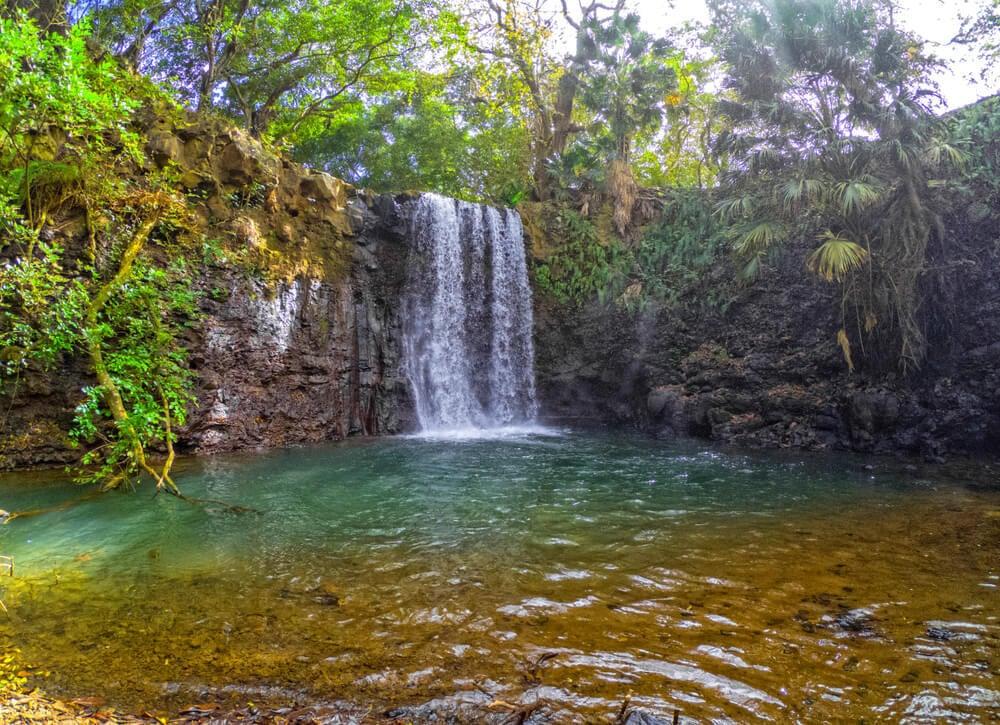 Eau Bleue waterfall in Mauritius