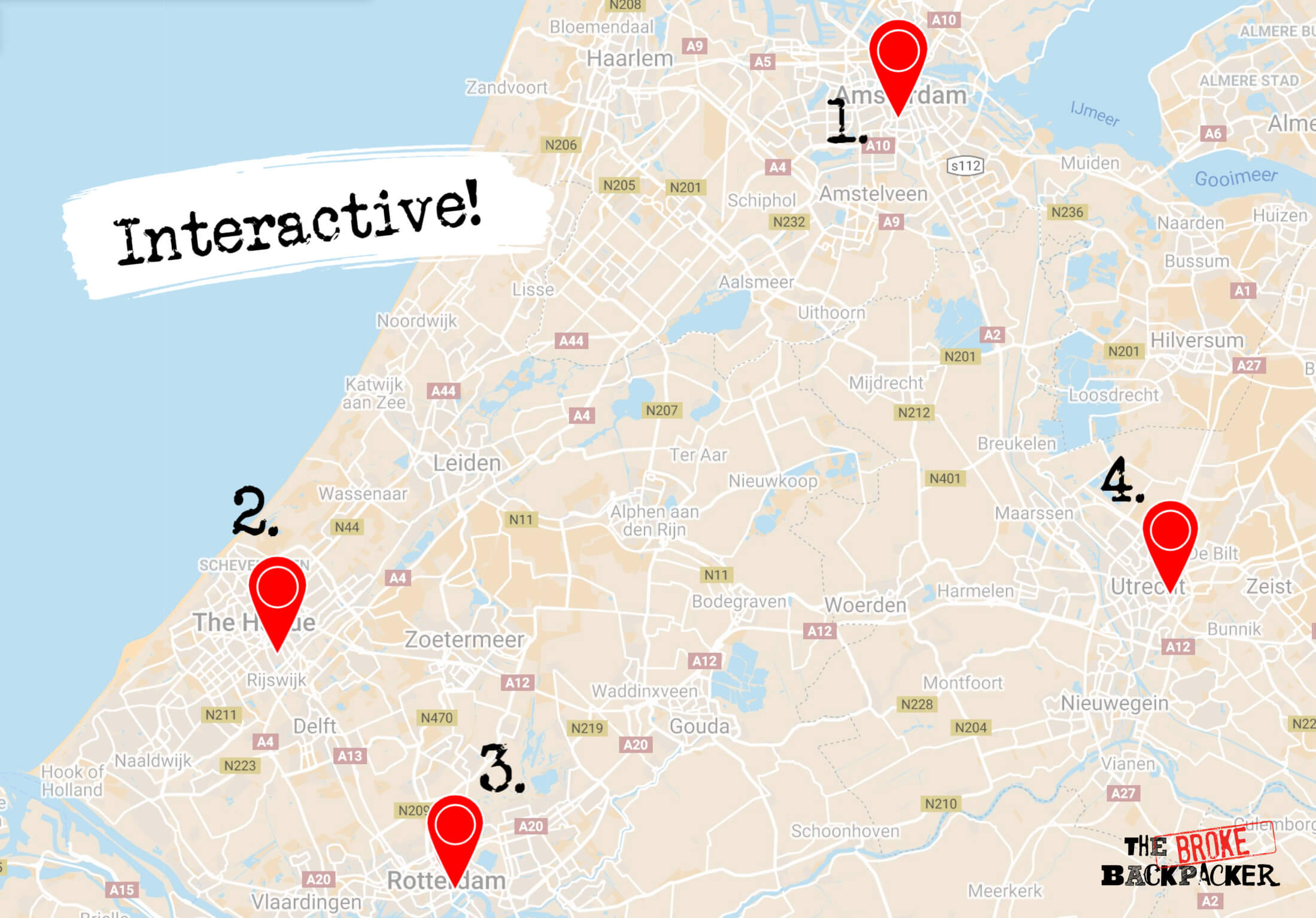 netherlands 3 day itinerary map