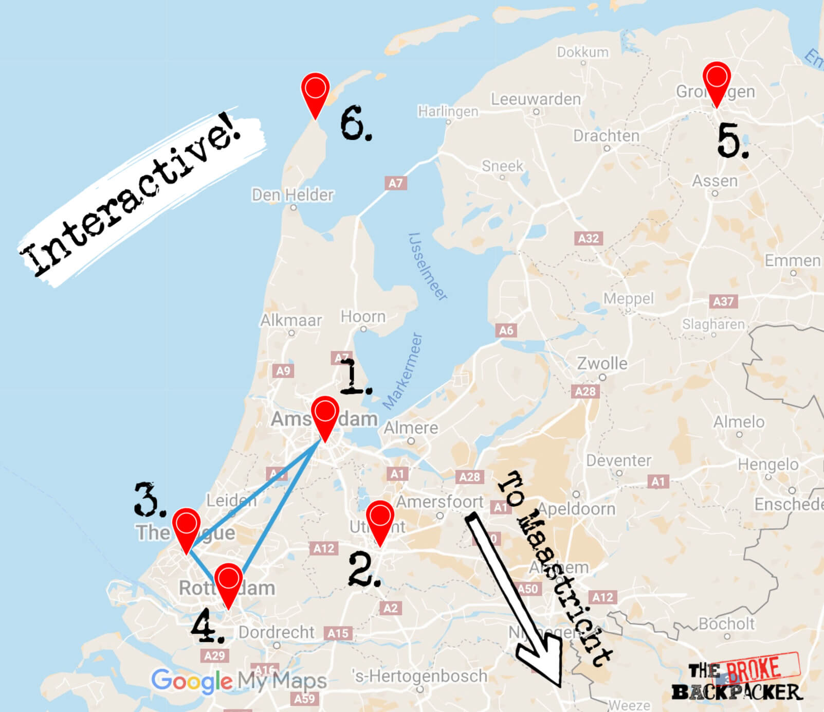 netherlands 5 day itinerary map