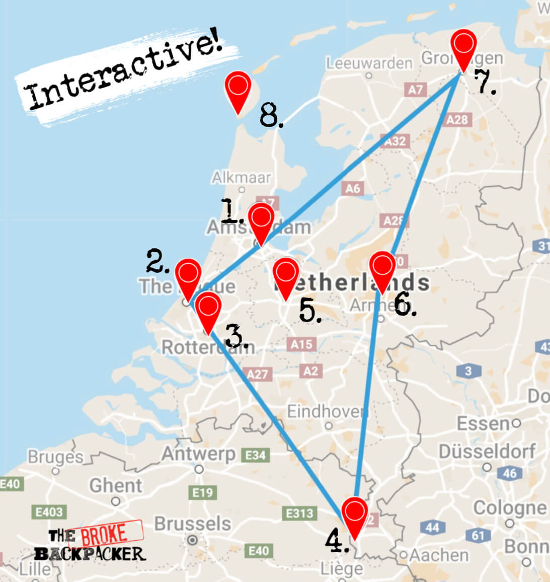 netherlands 7 day itinerary map