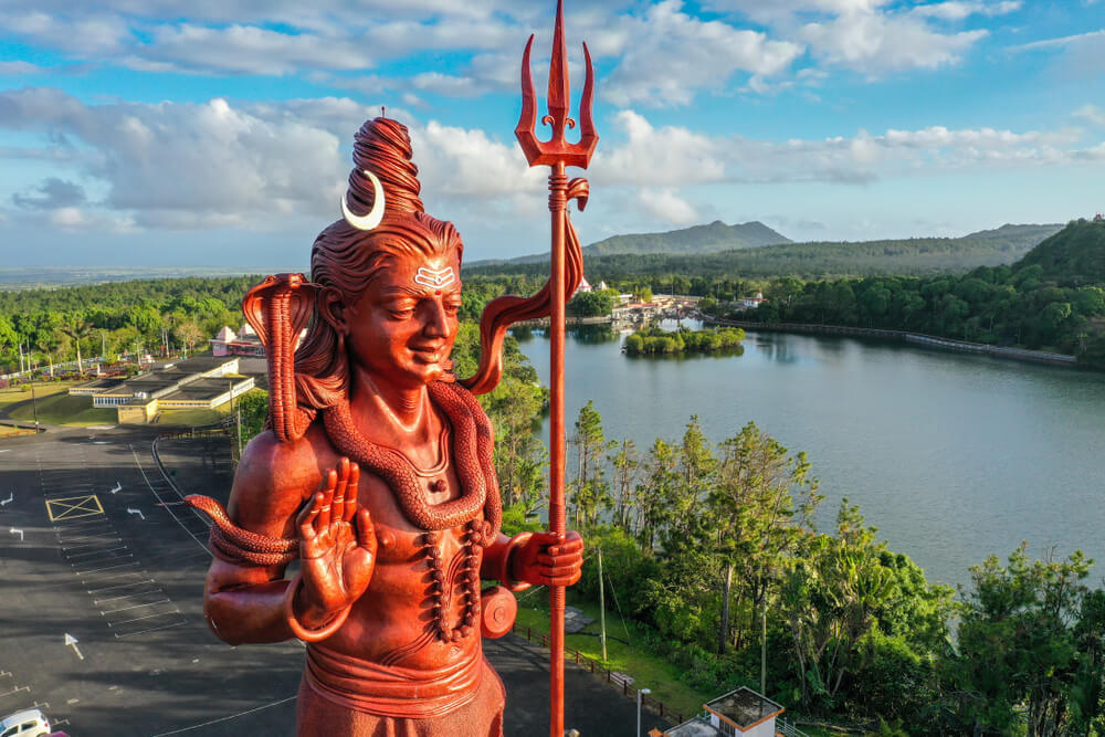 Shiva statue at Grand Bassin (Ganga Talao) - a sacred historical site in Mauritius