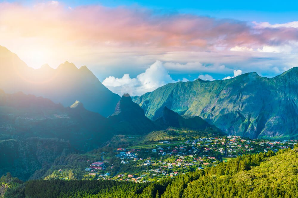 Reunion Island mountains at sunrise - a place of interest outside of Mauritius