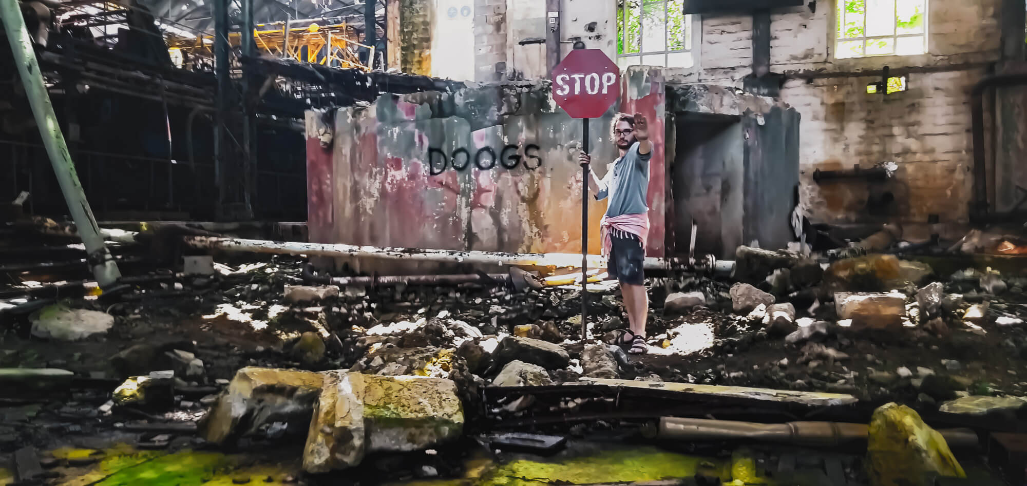 Man finds stop sign while exploring abandonded hidden gems in Mauritius