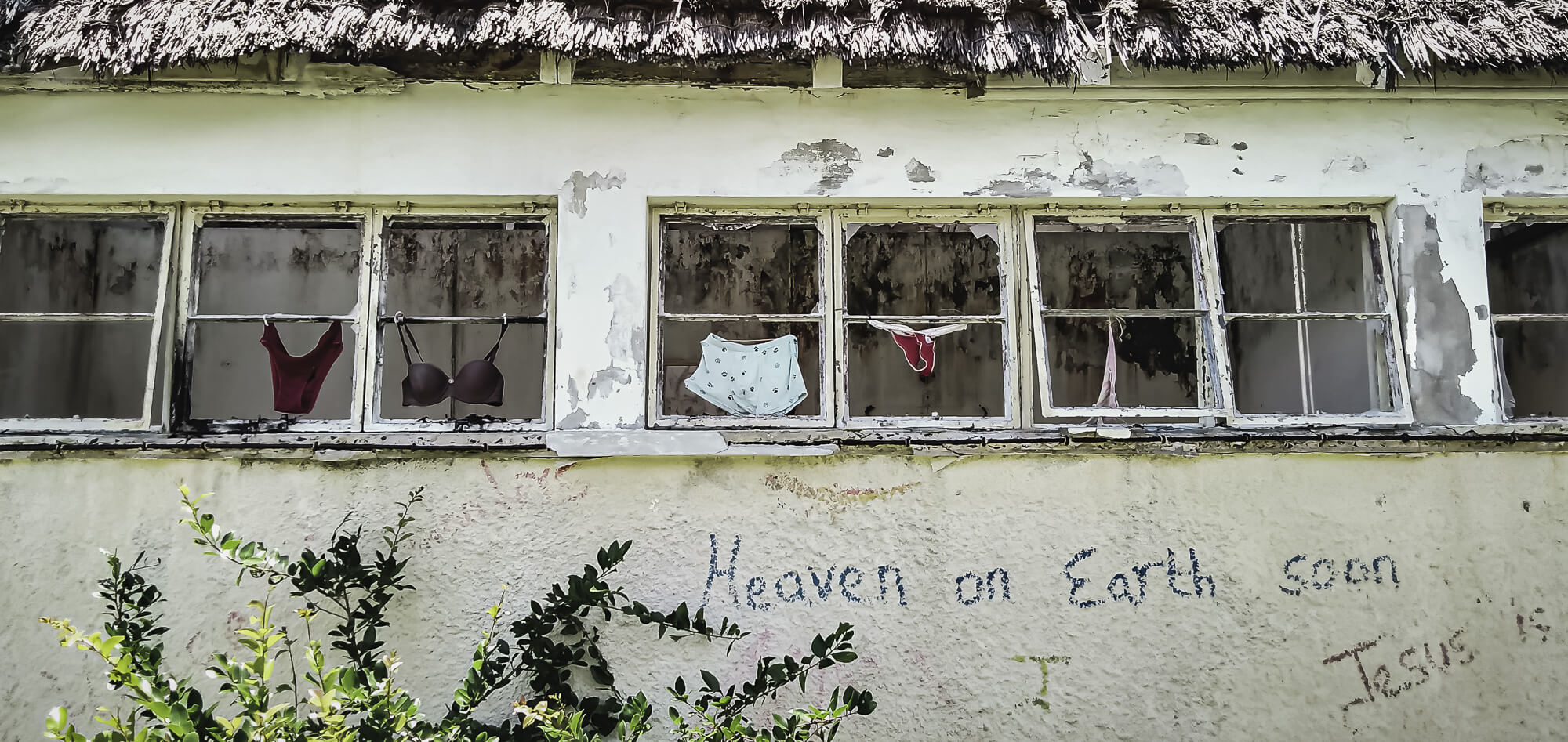 Abandonded building with underwear at a northern point of interest found in Mauritius