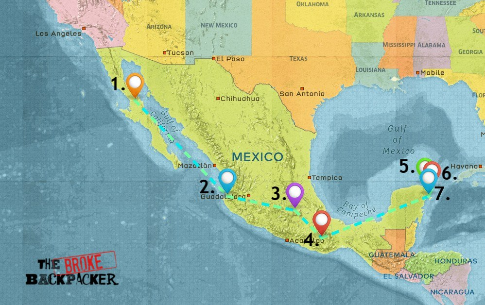 Map of Where to Stay in Mexico