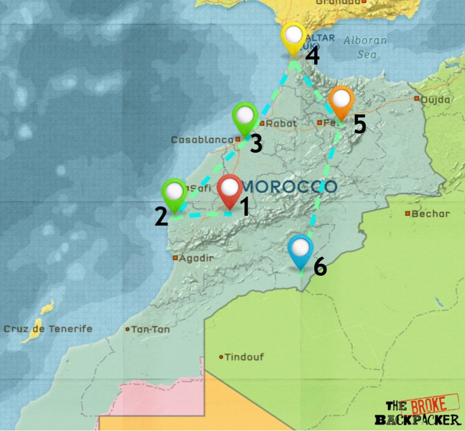 Map of Where to Stay in Morocco 2