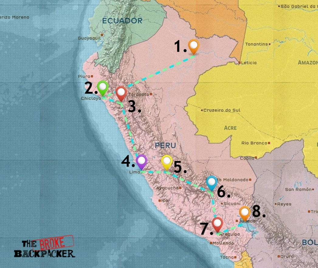 Map of Where to Stay in Peru
