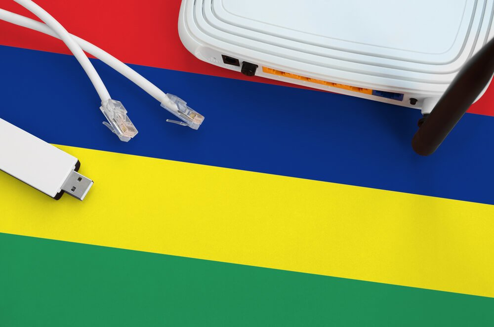 The Mauritius flag with an internet router