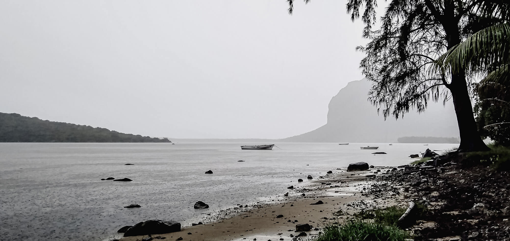A misty Le Morne Mountain - a beautiful place in Mauritius despite the weather