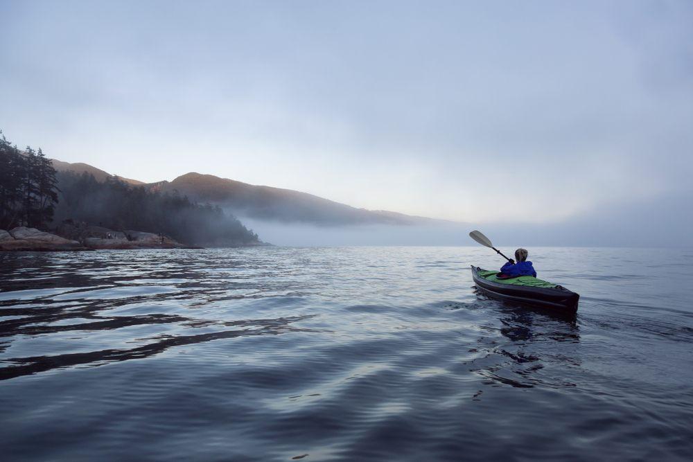 inflatable kayak on the lake