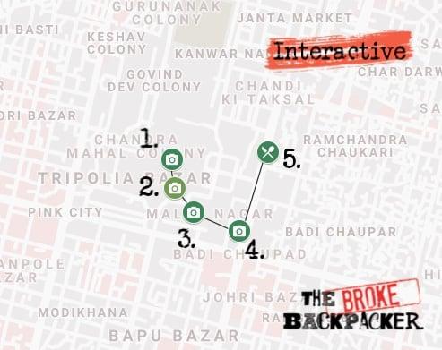 Jaipur Itinerary Day 1 Map