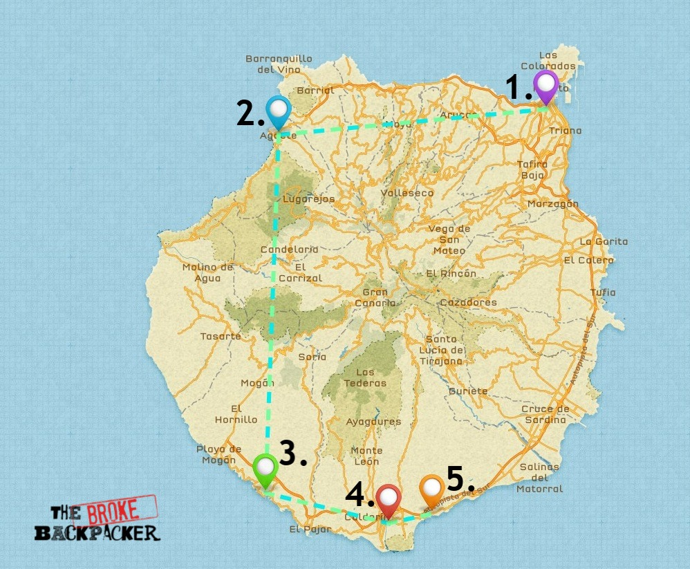 Map of Where to Stay in Gran Canaria
