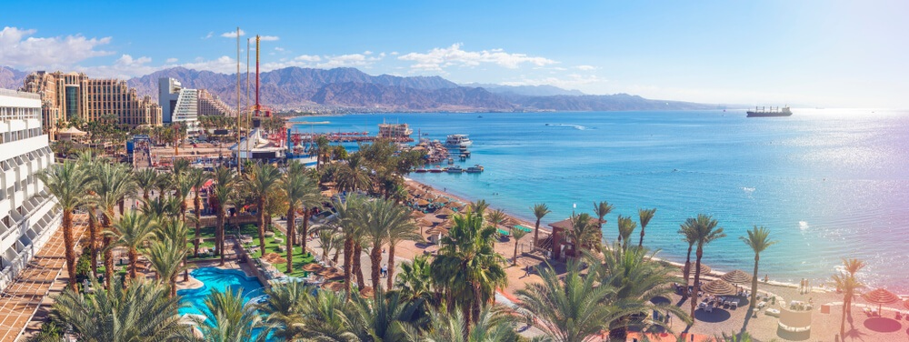 Eilat city centre with resorts and the Red Sea