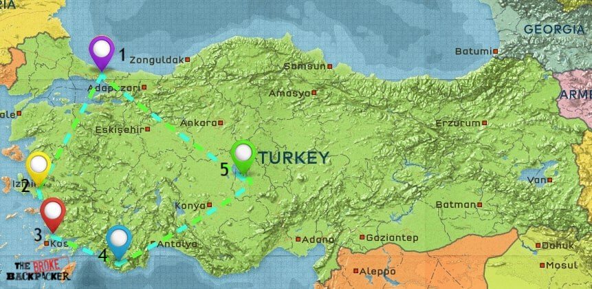 Map of Where to Stay in Turkey