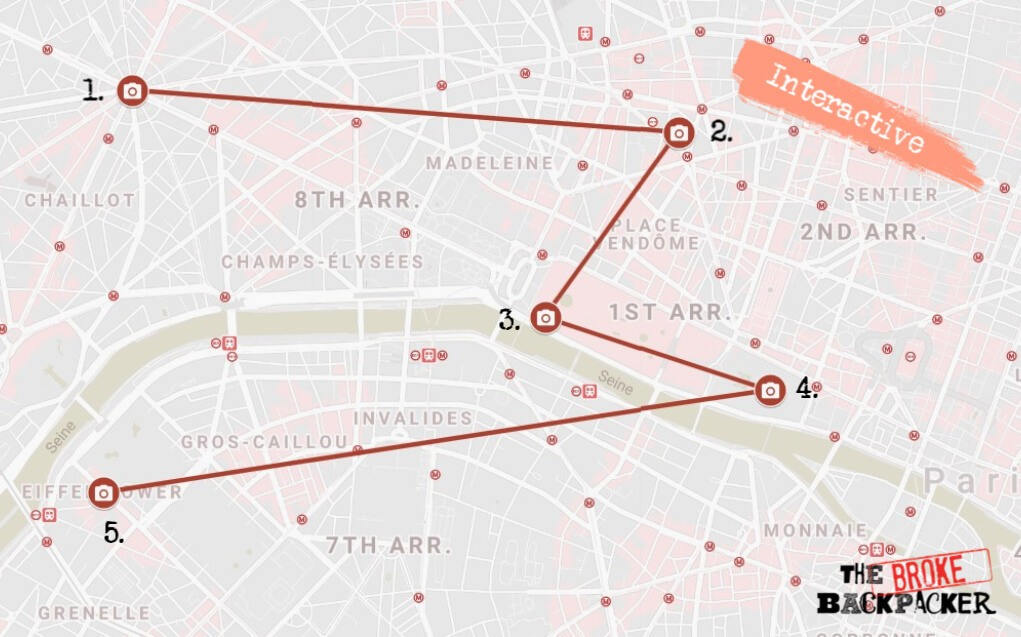 Paris Itinerary Map Day 1