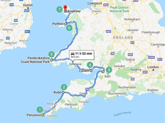 cornwall day 2 road trip map