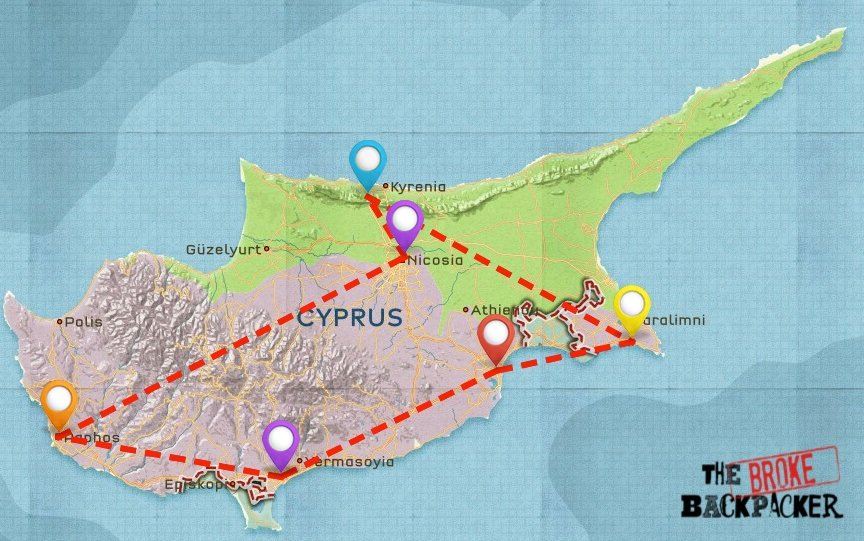 Map of Where to Stay in Cyprus