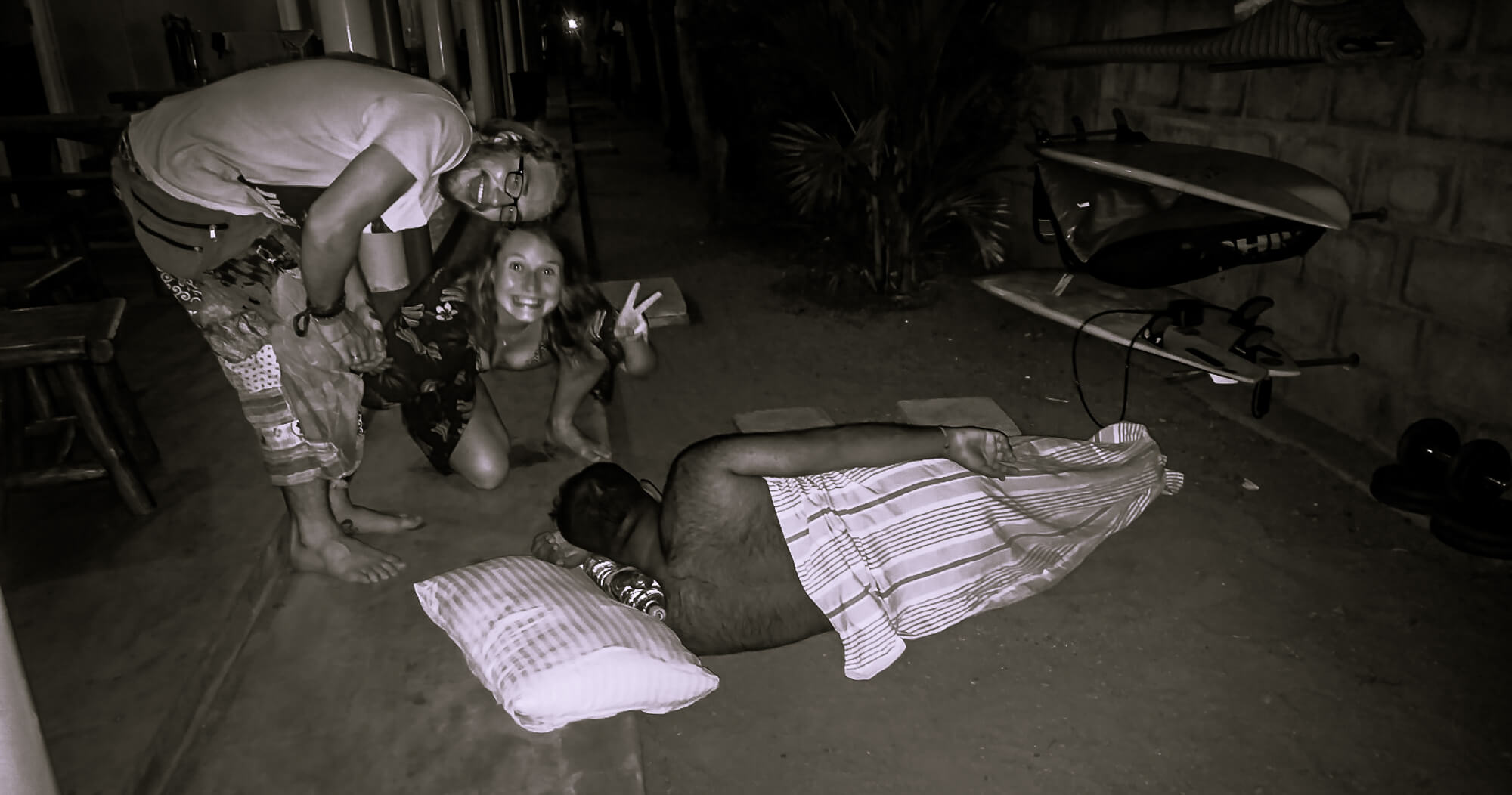 Sleeping off the night in the main party place in Sri Lanka