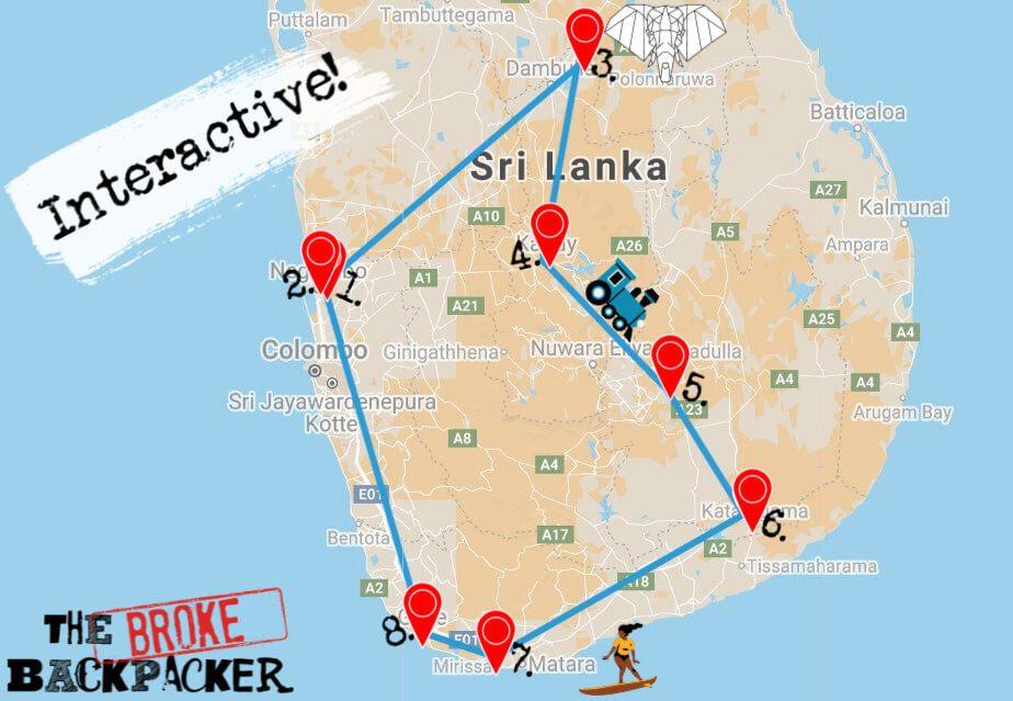 Map of Sri Lanka 2-Week Itinerary