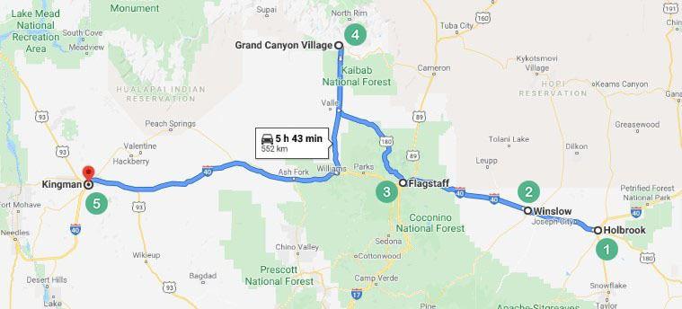 Arizona Route 1 Map