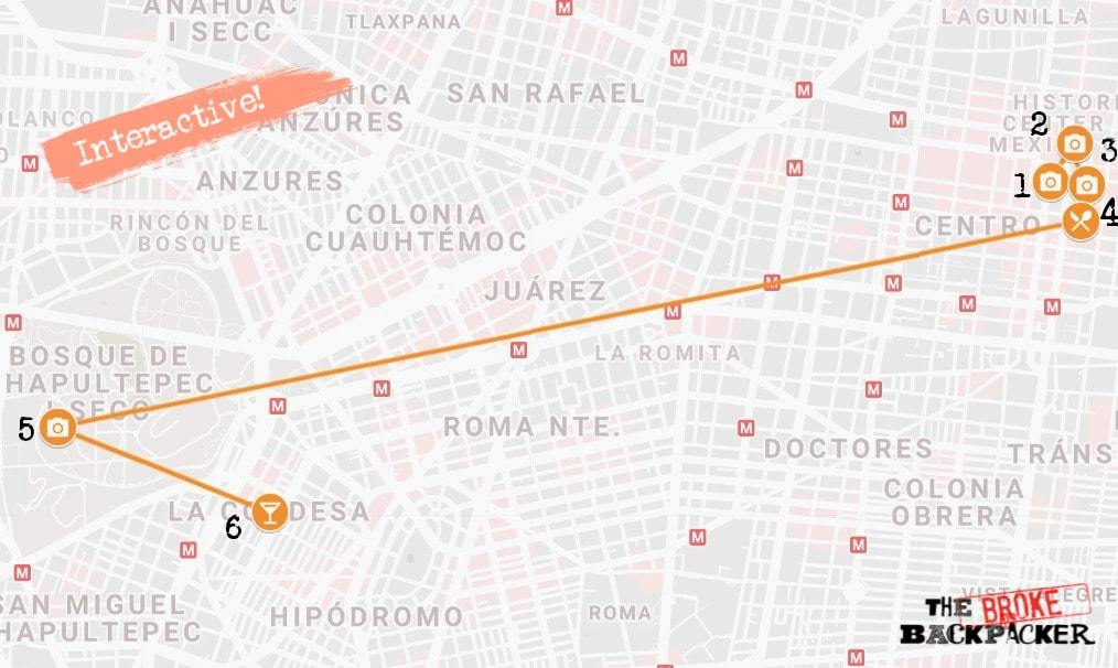 Mexico City Day 1 Itinerary Map