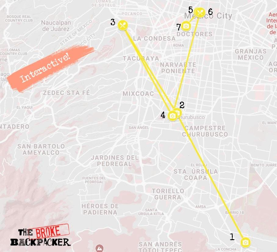Mexico City Day 2 Itinerary Map