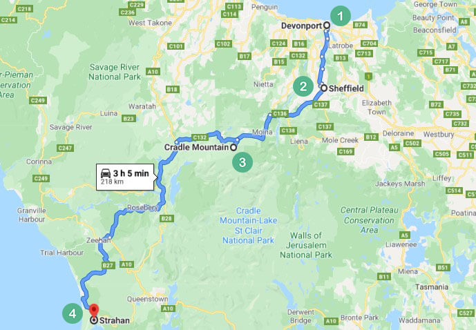 Tasmania Route 1 Map
