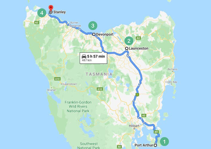 Tasmania Route 2 Map