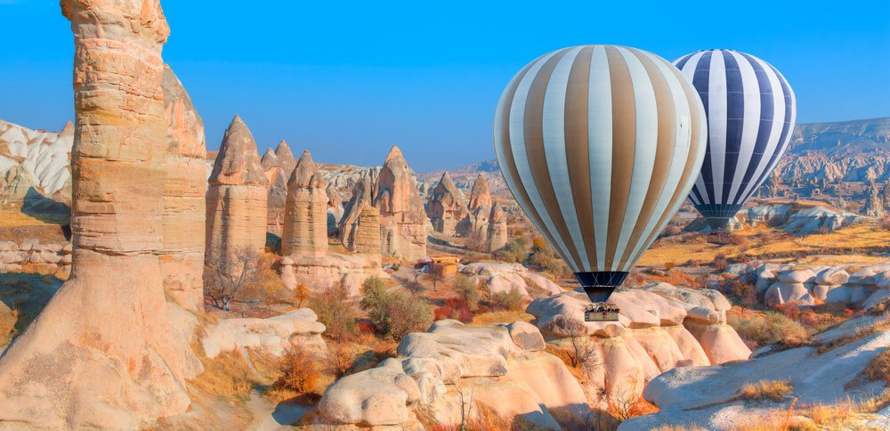 Tourists enjoying a reopened Turkey from hot air balloons in Love Valley, Cappadocia