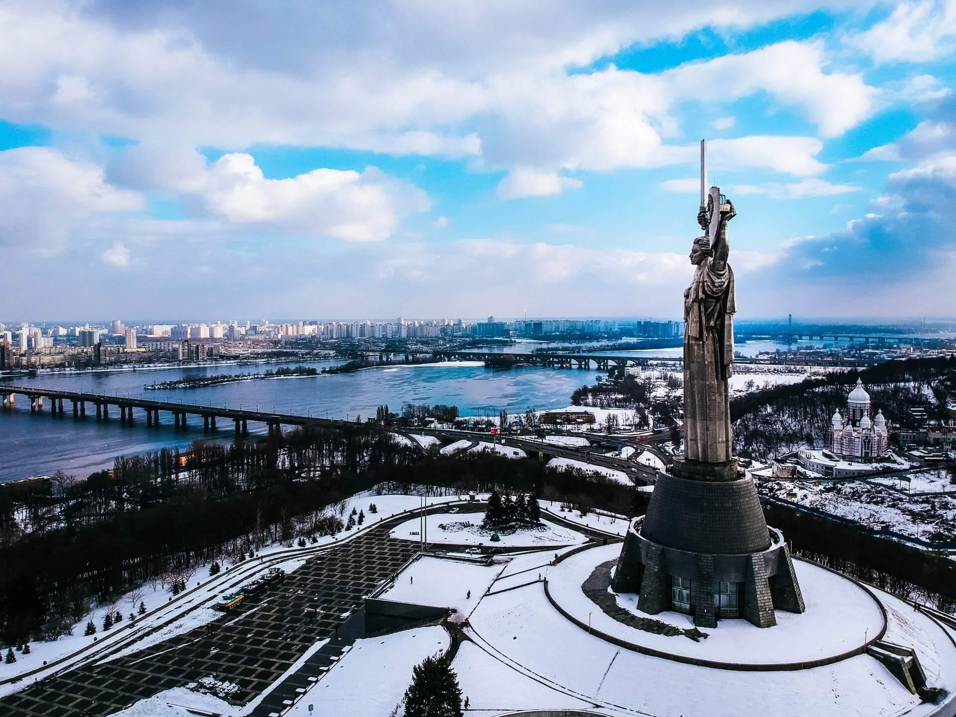 Snowy winter day at a landmark in Kyiv - Ukraine's capital city