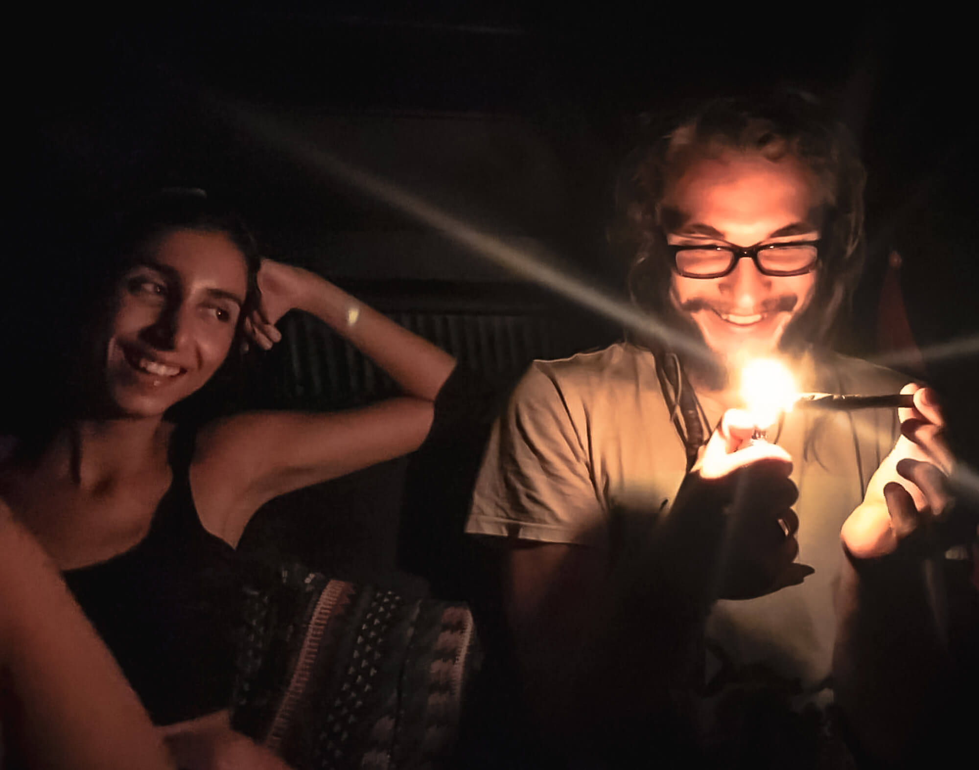 Me smoking with a female travel buddy I met in Sri Lanka