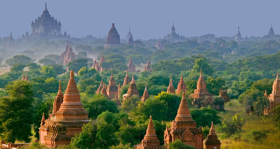 A viewpoint looking out over the temples of Bagan