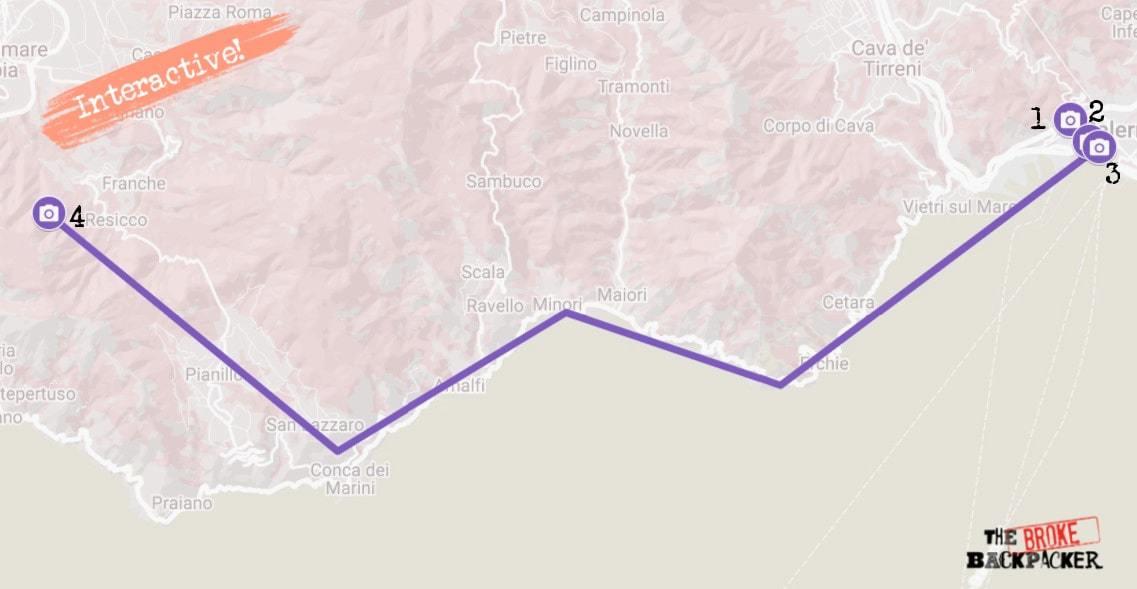 Amalfi Coast Itinerary Map Day 2