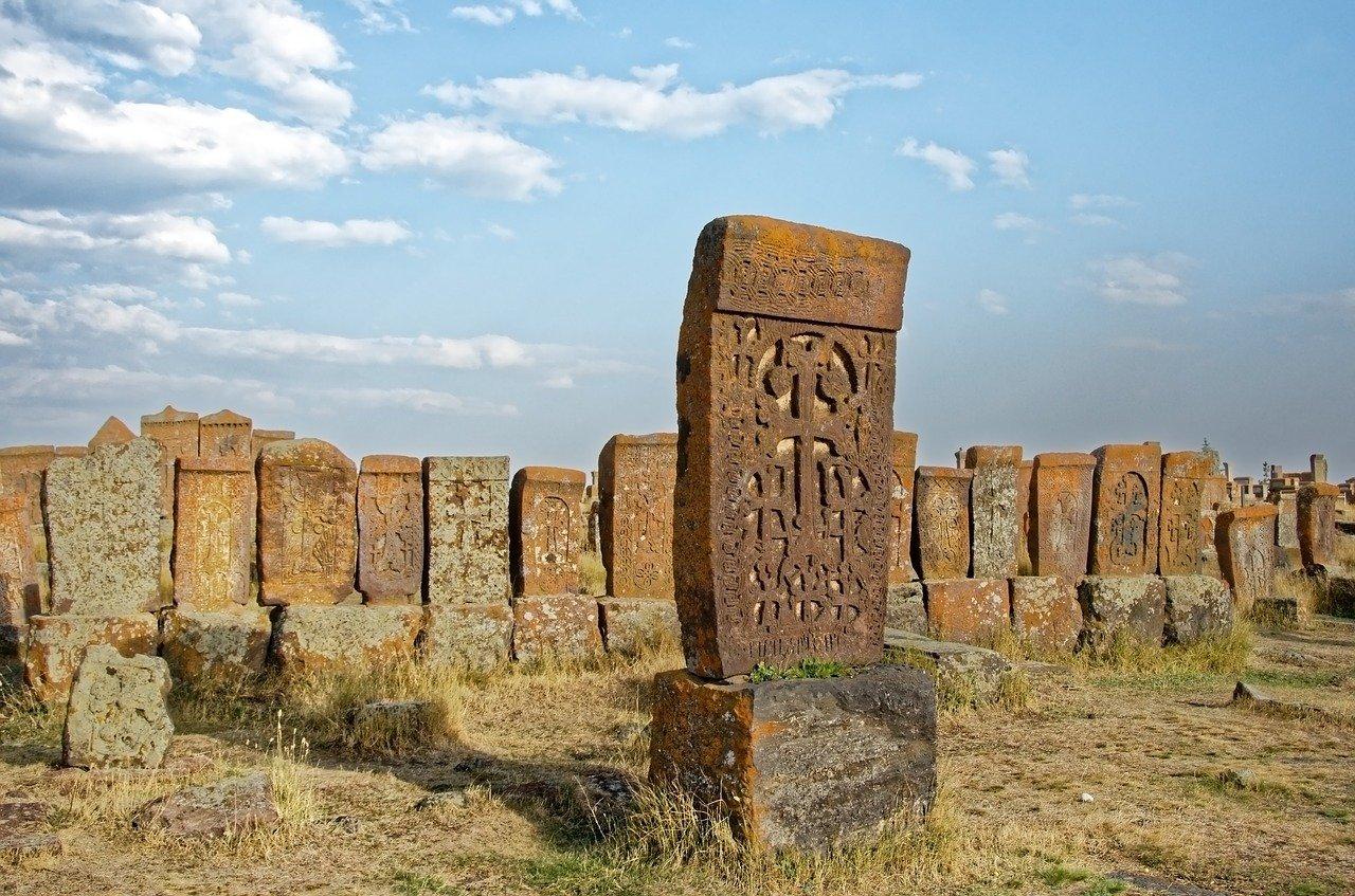 Armenian khachkar in a cemetery