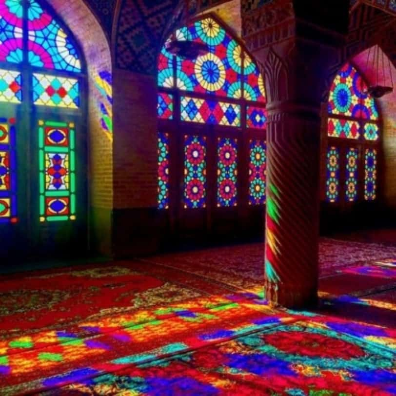 Stained glass windows in a beautiful mosque in Iran.