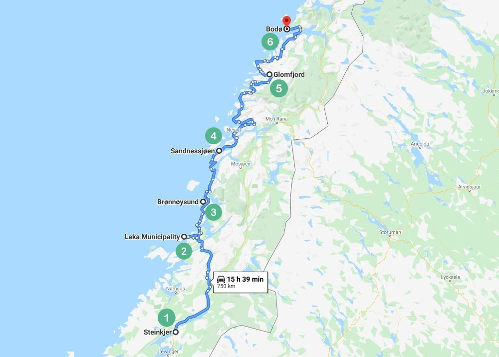 Norway Route1 Map