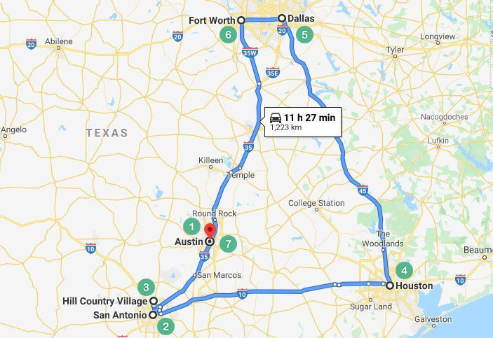 Texas Route 1 Map