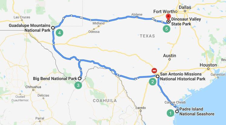 Texas Route 2 Map