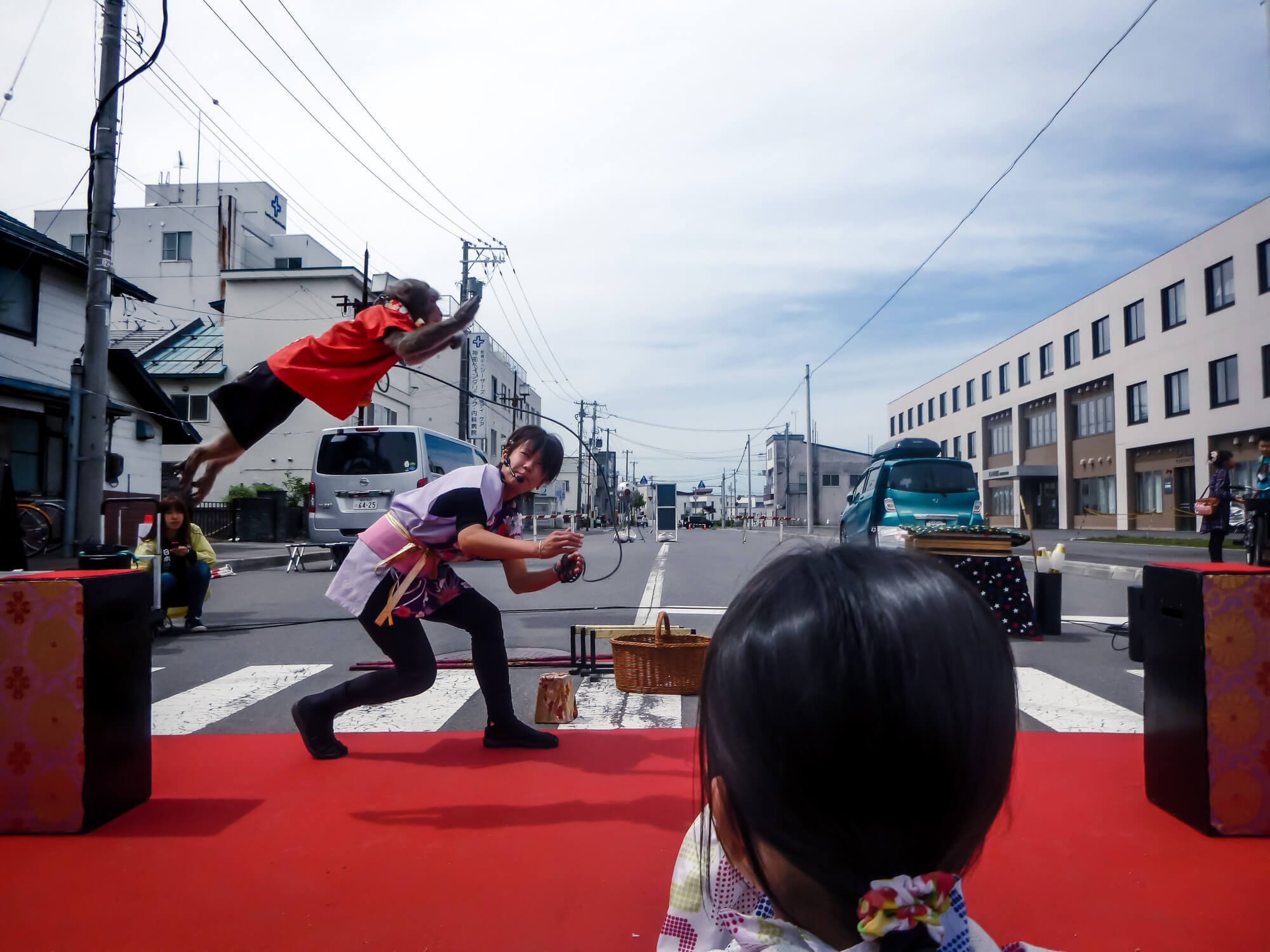 A performing monkey busking in Japan - example of animal cruelty in entertainment