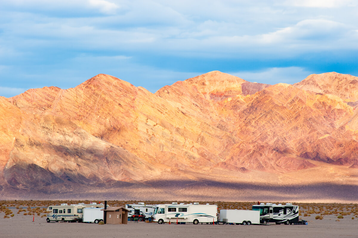 Group of motorhomes in a free camping RV park in the Las Vegas area