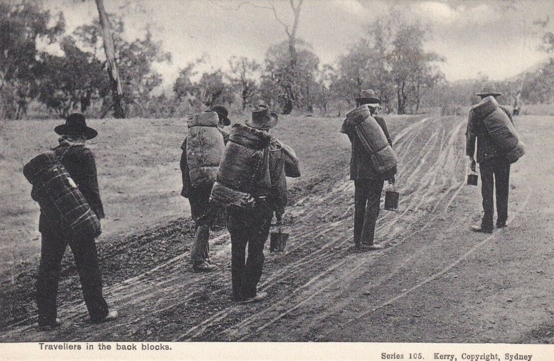 Archived photo of swagmen on a hiking adventure in Australia