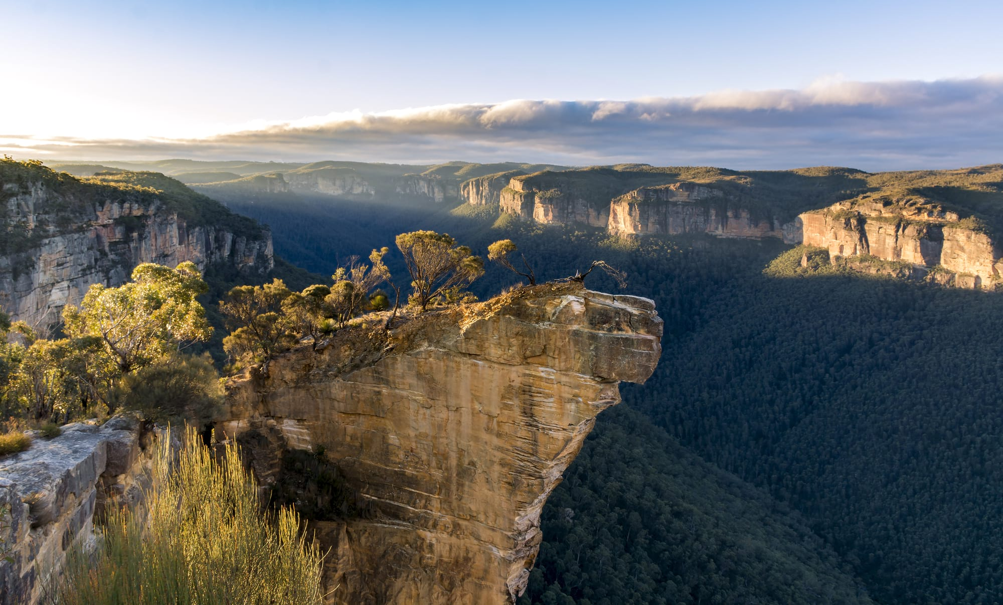Hanging Rock Lookout's viewpoint over the Blue Mountains National Park