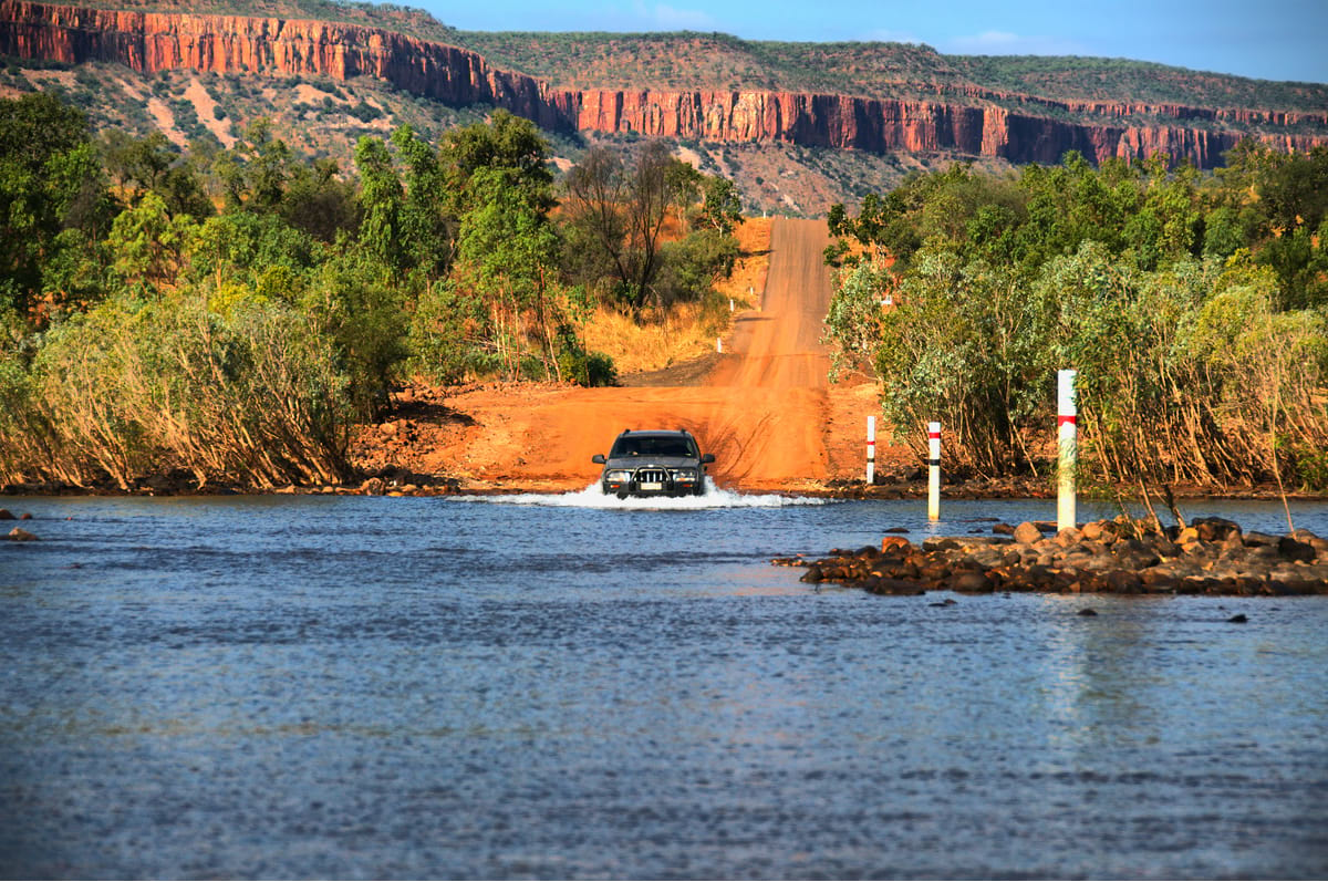 4WD crossing a river on the Gibb River Road - Best Australian 4x4 trips