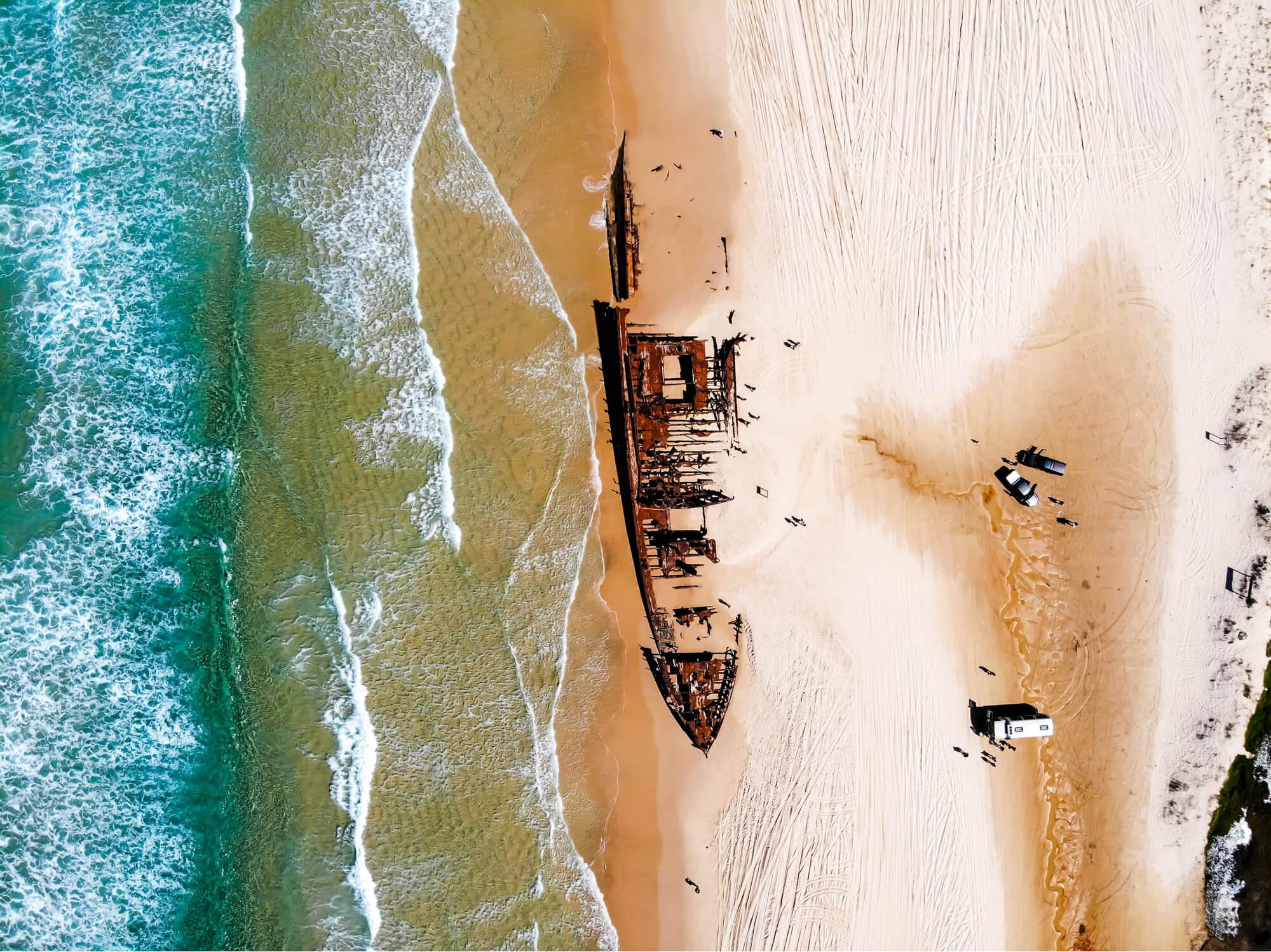 SS Maheno shipwreck on Fraser Island - a popular tourist destination in Australia