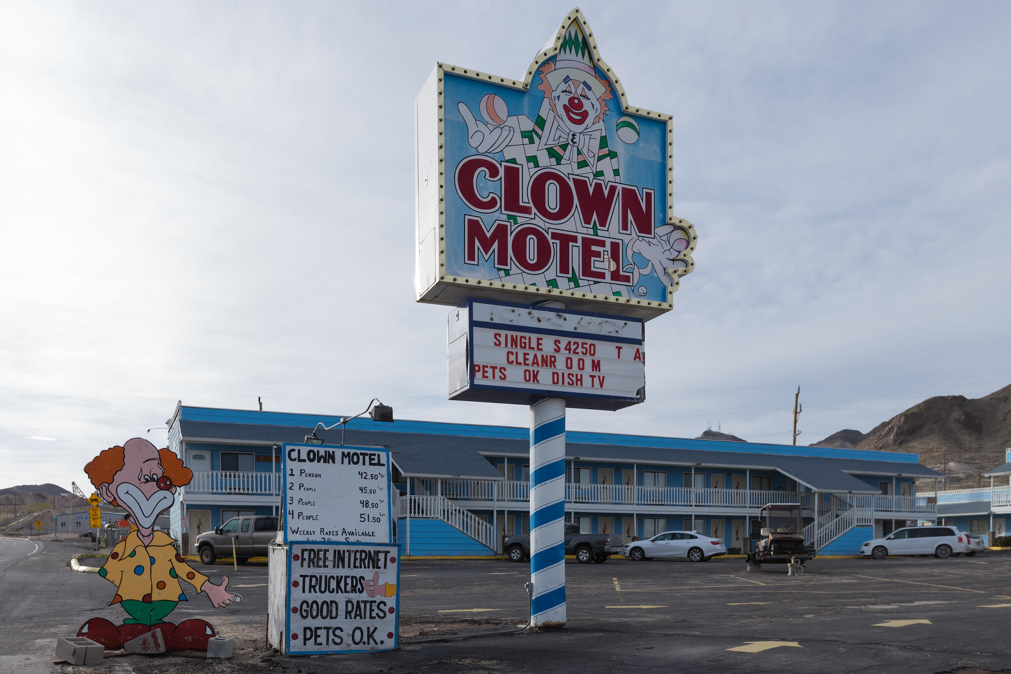 Famous 'Creepy' Clown Motel tourist attraction in Tonopah, Nevada