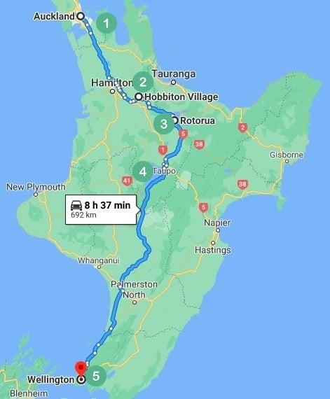 Auckland to Wellington